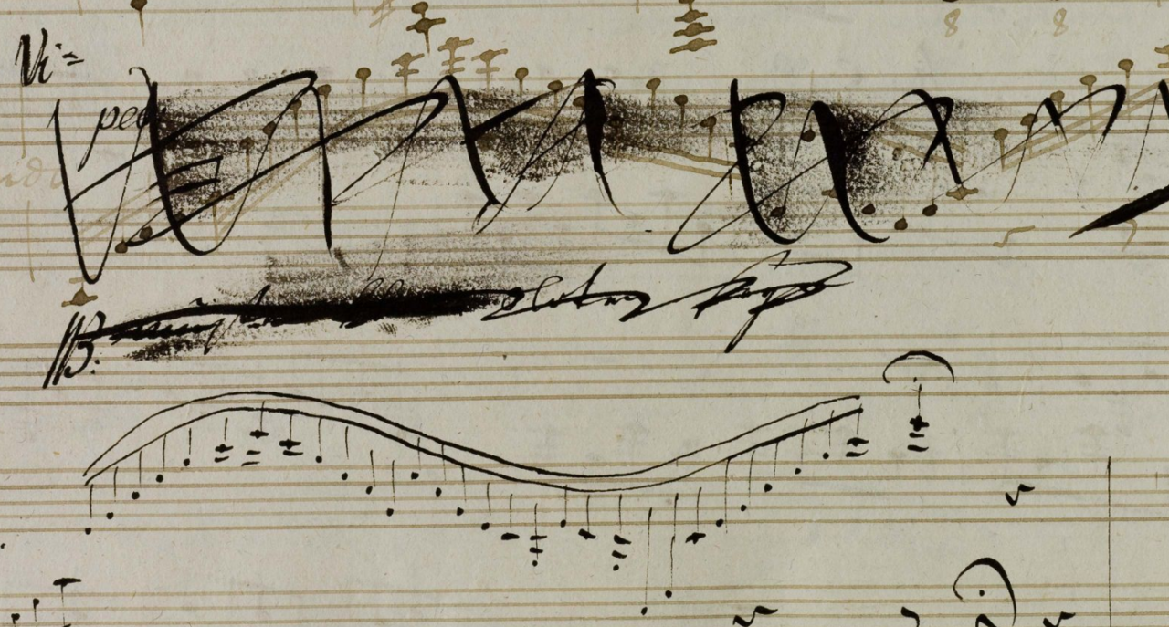 From the manuscript of Beethoven's Violin Sonata in A, Op. 47, with extensive revisions by himself as well as by his pupil Ferdinand Ries (x)