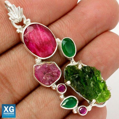 Emerald-Rough-Ruby-Rough-Emerald-Ruby-925-Silver-Pendant-SP100570