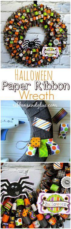 Photo of Halloween paper ribbon wreath