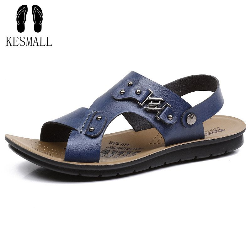 Handmade Men Sandals Genuine Leather Soft Summer Male Shoes Retro Sewing Casual