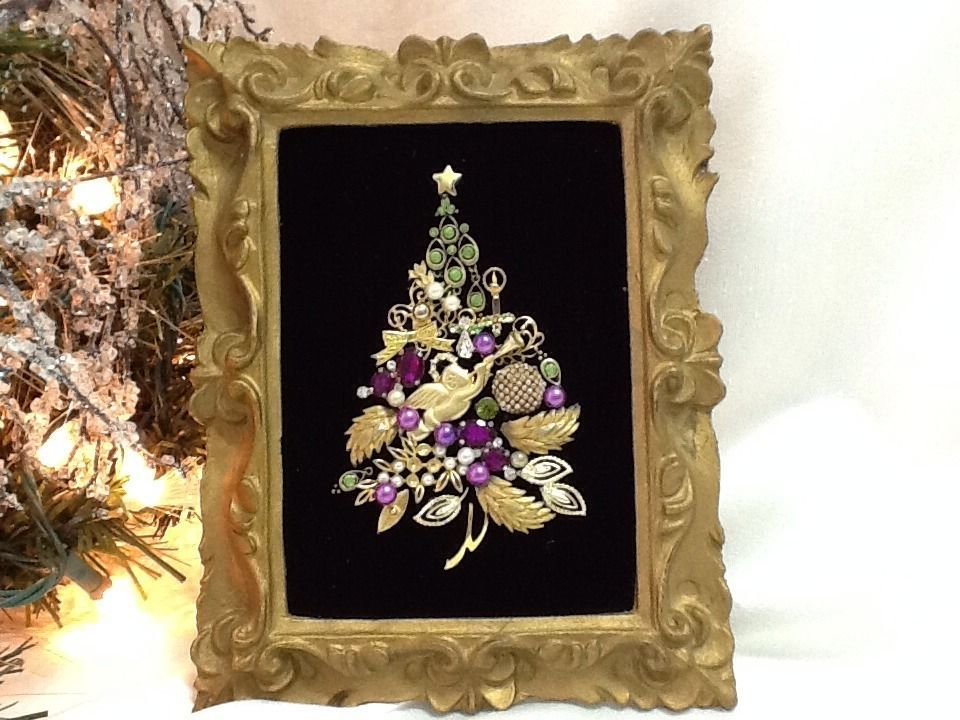 Vtg Jewelry Art CHRISTMAS TREE Florentine Frame Purple Green in Collections, Lots | eBay