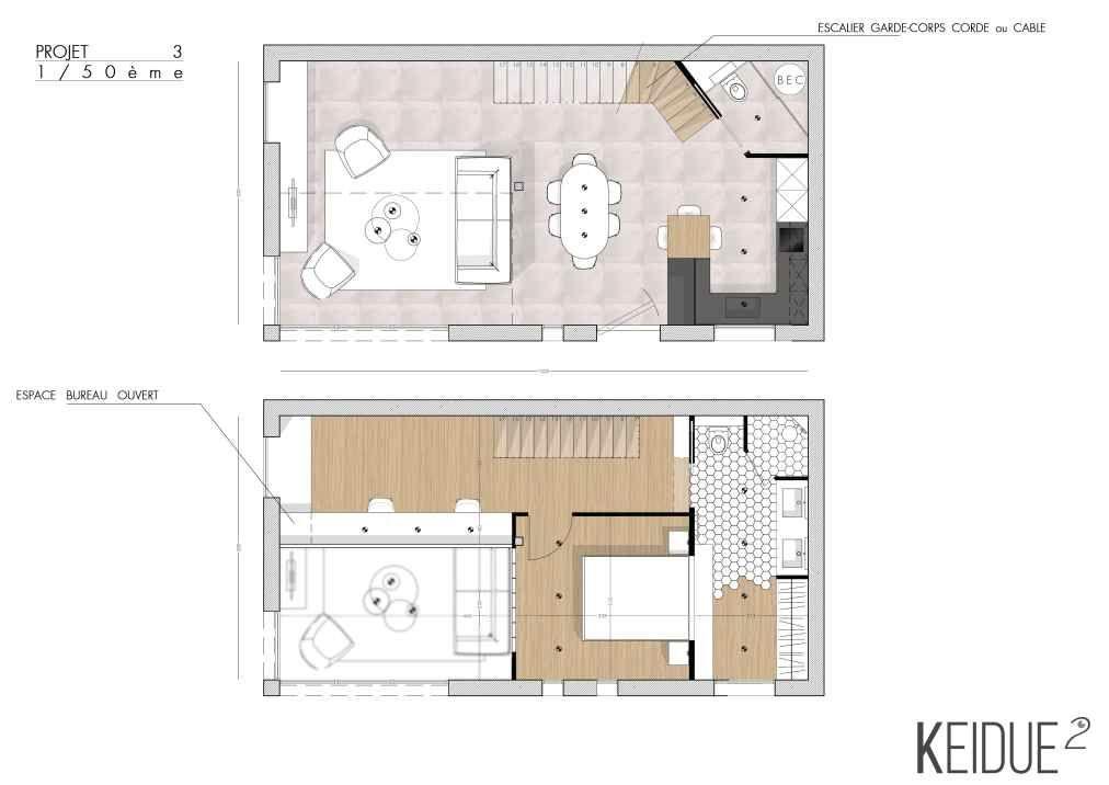 PROJET KEIDUE² Découvrez lu0027aménagement intérieur du0027un loft hangar - plan d interieur de maison