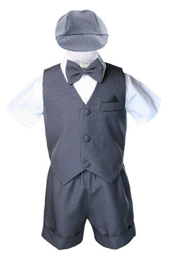 Boys Toddler Formal Vest Shorts Suits Black Navy Brown Bow Tie Hat 4pc Set S-4T