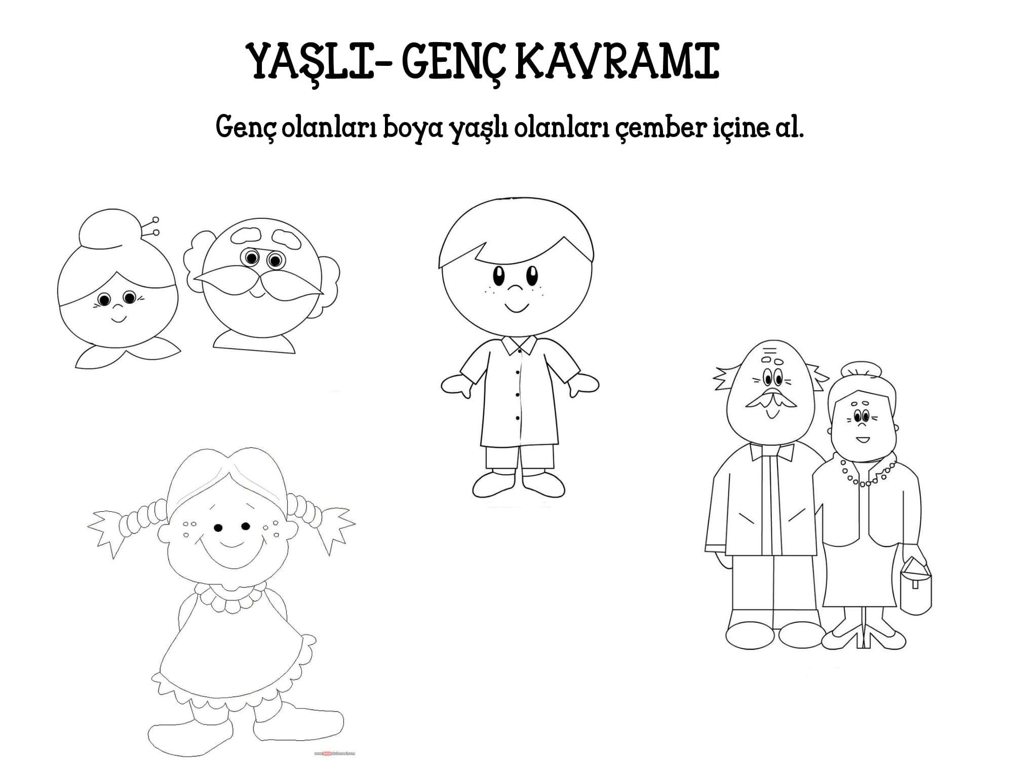 Yasli Genc Kavrami Faaliyetler Okul Oncesi Calisma Cizelgeleri