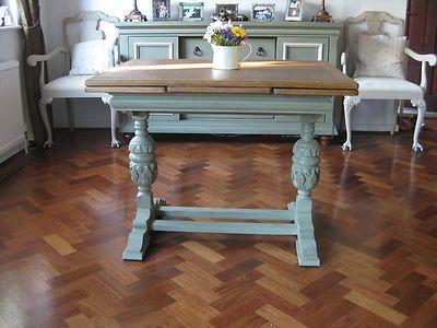 Antique Oak Draw Leaf Table C.1930u0027s Shabby Chic No Chairs Annie Sloan |  EBay