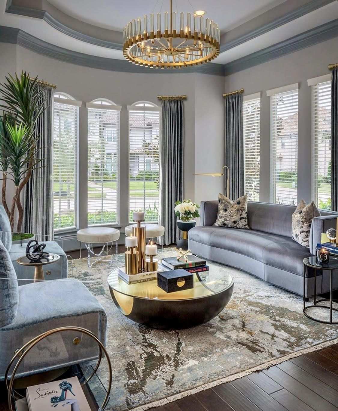 Beautiful Grey And Gold Luxury Living Room Decor With Curved