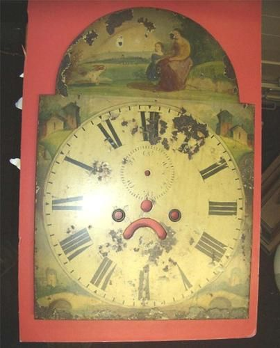 Antique Metal Grandfather Clock Hand Painted Dial Spare Restoration Ebay