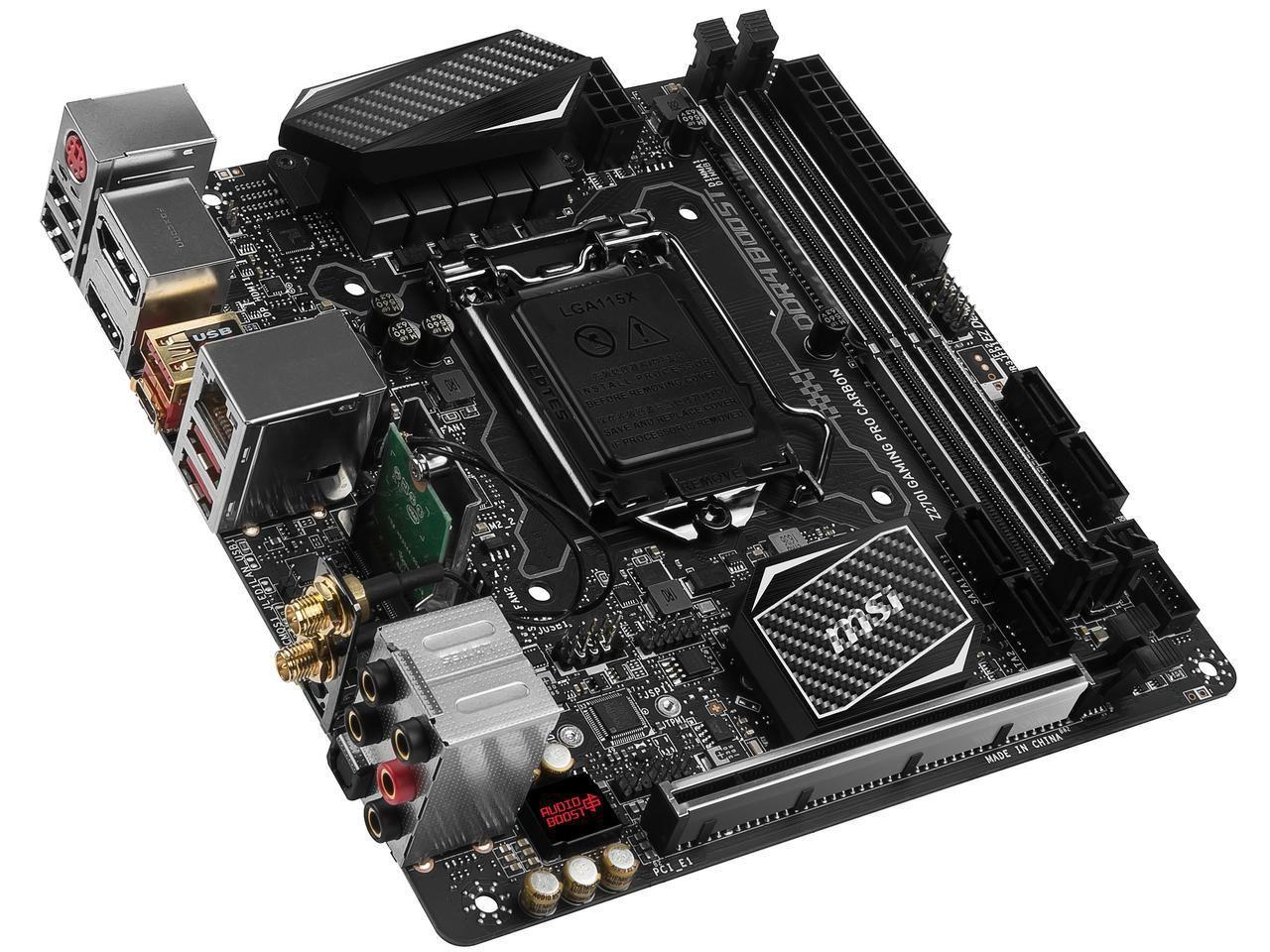 Msi Z270i Gaming Pro Carbon Ac Lga 1151 Intel Z270 Hdmi Sata 6gb S Usb 3 1 Mini Itx Intel Motherboard Newegg Com Mini Itx Gaming Computer Graphic Card