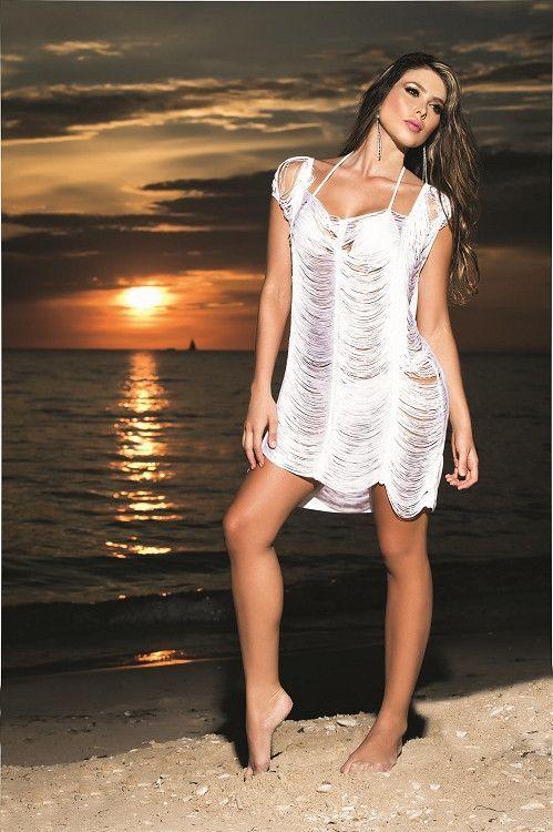0c0293b508 Hot and Sexy White Fringe Style Beach Dress Cover-Up – SoHot Swimwear