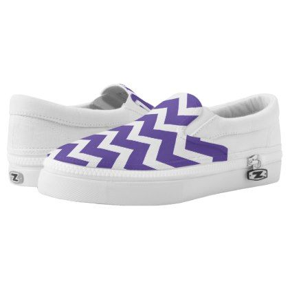 Ultra violet purple white Chevron pattern Slip-On Sneakers Ultra