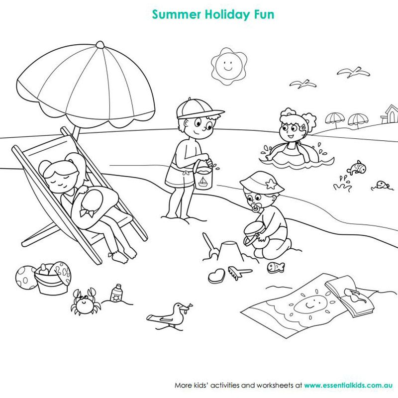 Beach Scene Colouring Page Beach Coloring Pages