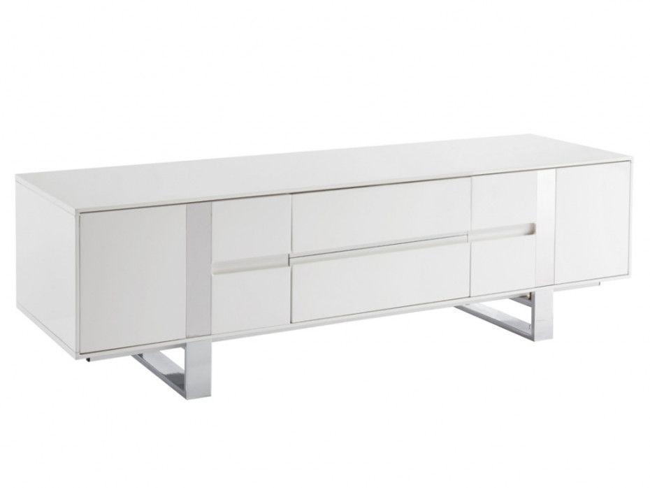 Meuble Tv Petillante Mdf Metal Chrome Blanc Laque Storage Furniture Cabinet