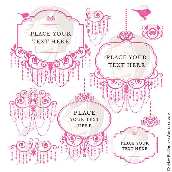 Pink Chandelier Retro Frames Silhouette Elegant Ornate Border Frames Png Files Cardmaking Wedding Invites Scrapbooking Craft Clip Art 10495
