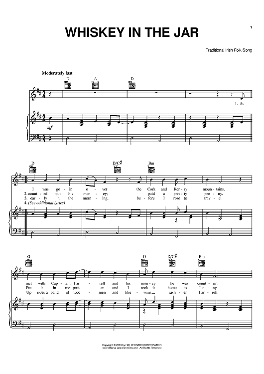 Whiskey In The Jar Sheet Music By Metallica Sheet Music Pianos