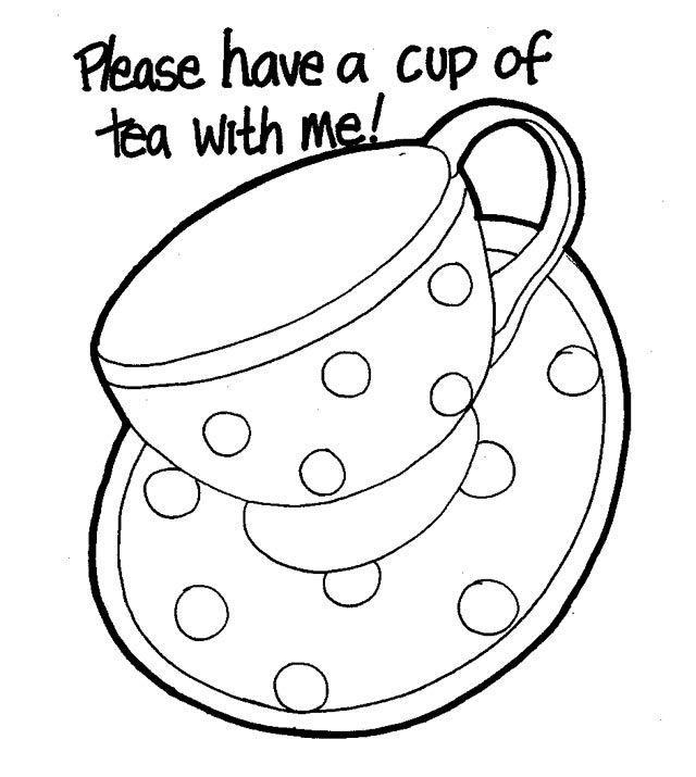 - Would Be Nice On An Invitation Coloring Pages, Tea Cup Drawing, Free  Coloring Pages