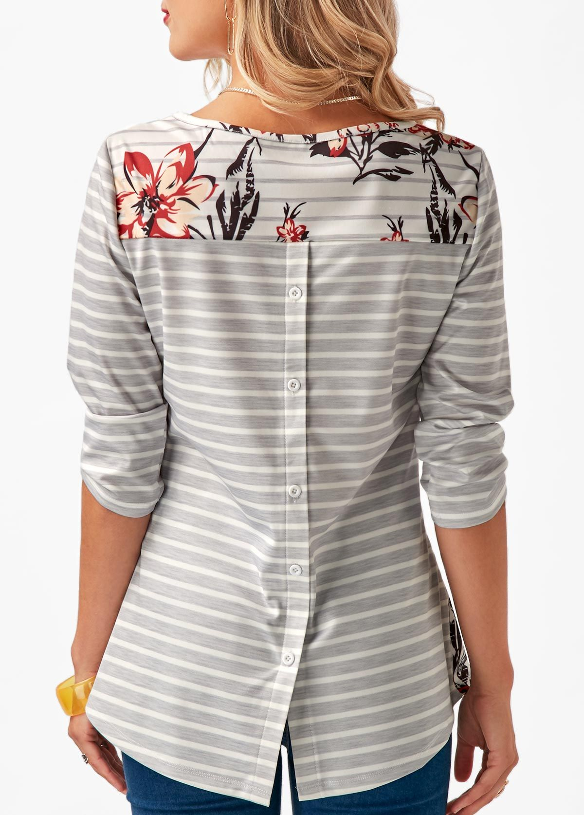 fe80907672 Three Quarter Sleeve Button Back Printed T Shirt on sale only US 30.16 now