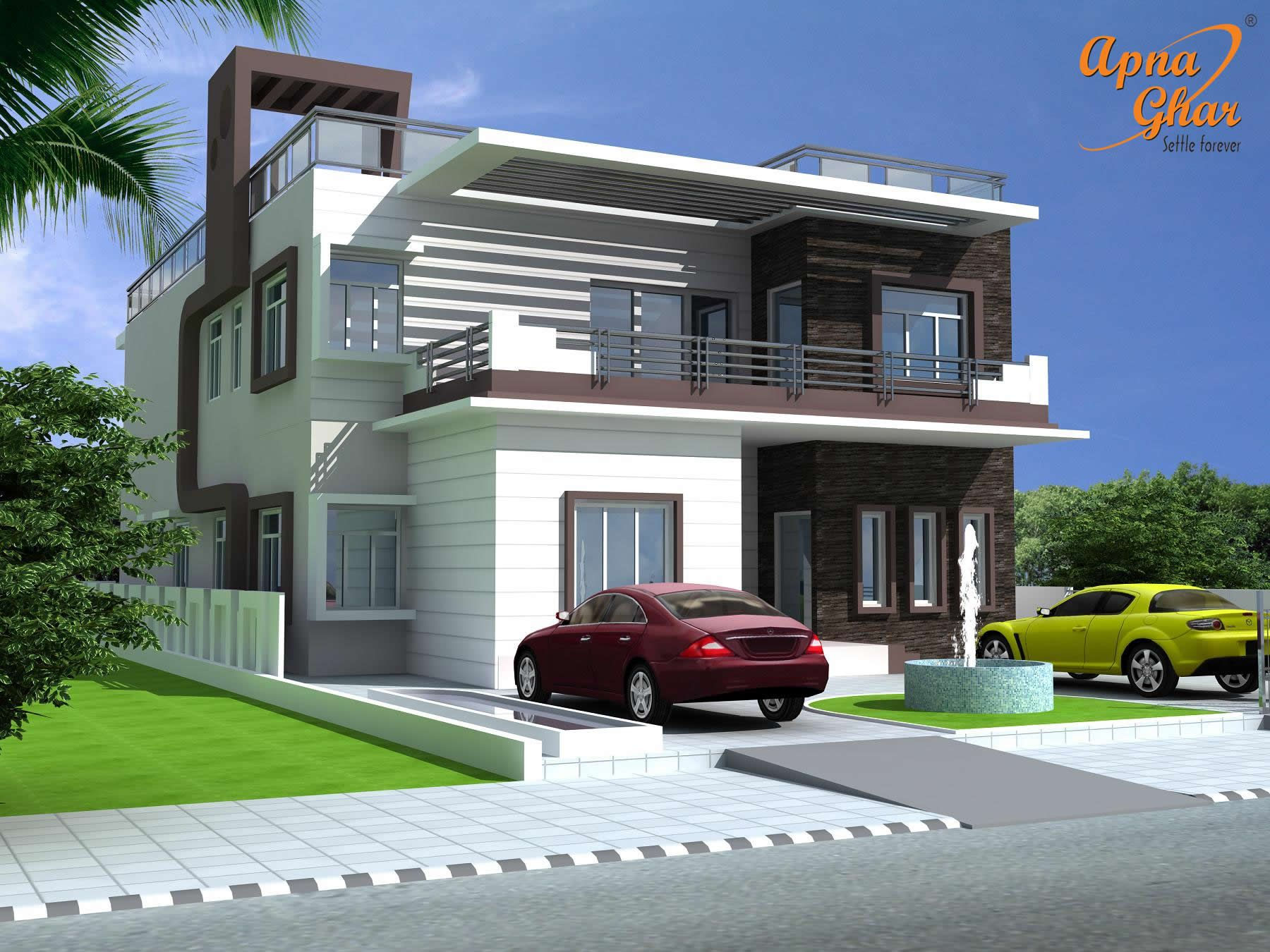 Floor Front Elevation Landscaping : Bedrooms duplex house design in m click
