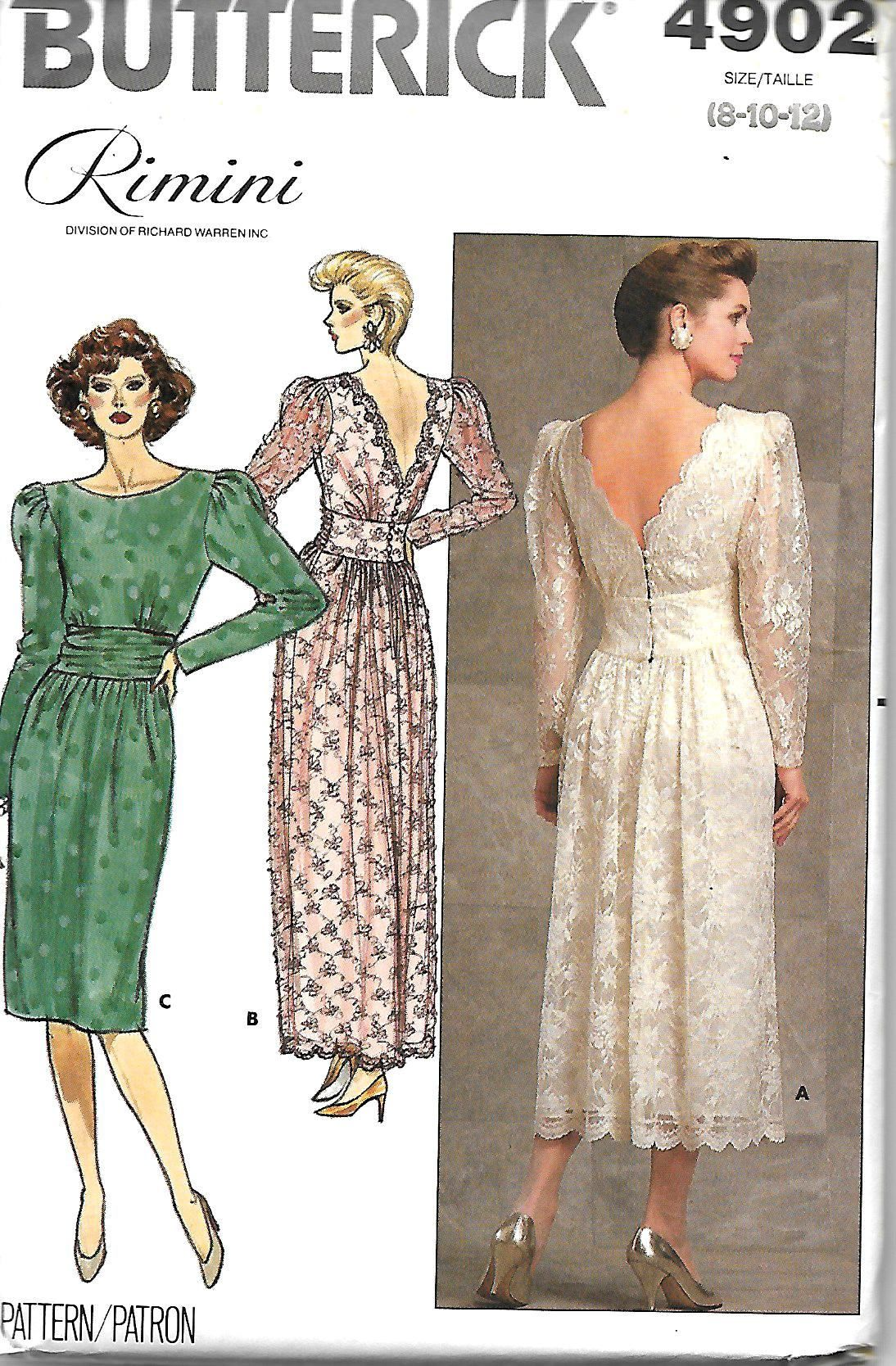 Butterick 4902 Rimini Dress Sewing Pattern Designer Pattern Lace Overlay Evening Dress 8 Bridal Sewing Patterns Formal Dress Patterns Vintage Formal Dresses