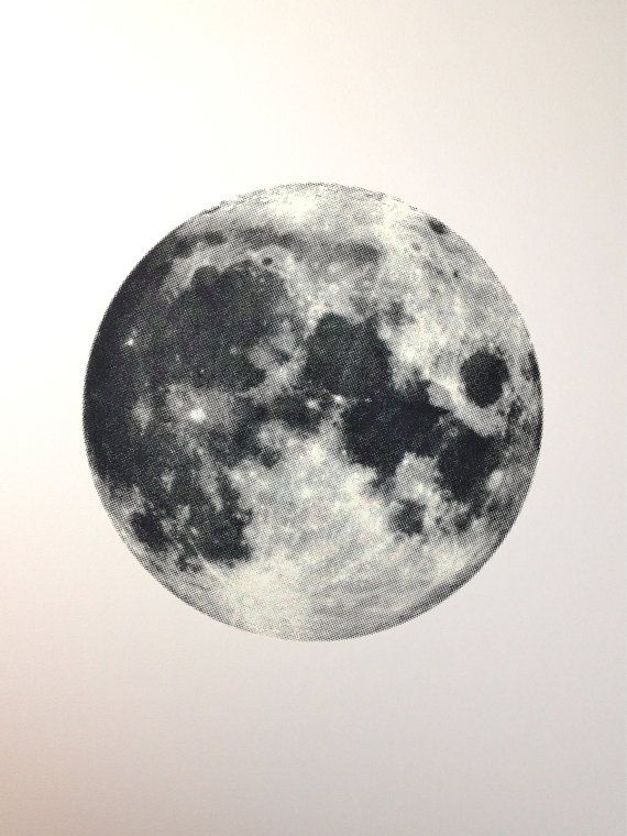 full moon screen printed poster glows in by theramblinworkershop ilustra o tatouage. Black Bedroom Furniture Sets. Home Design Ideas