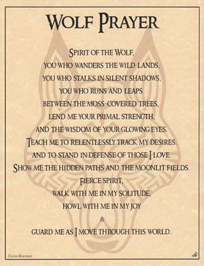 WOLF PRAYER POSTER A4 SIZE Wicca Pagan Witch Witch Goth BOOK OF