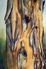 Peeling Bark Australian Gum Tree Watercolor Painting Watercolor