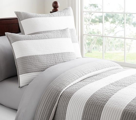 Rugby Stripe Quilt Twin Gray White The Girl S Room Bed Quilt