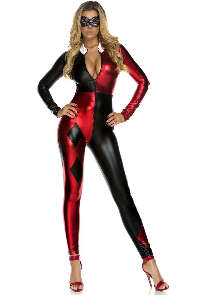 Hot Sale Adult Harley Quinn Jumpsuit Women Gotham Fancy Dress Red Black Suit