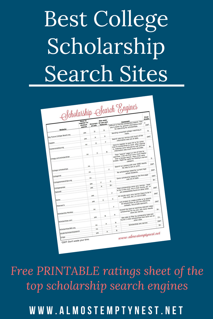 Best College Scholarship Sites: Free printable with ratings of the top scholarship search engines. #scholarships #college #collegescholarships #scholarshipsearchengine #collegeprep #collegebound #almostemptynest #payingforcollege