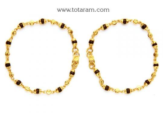 22K Fine Gold Baby Nazaria Set of 2 1 pair Totaram Jewelers