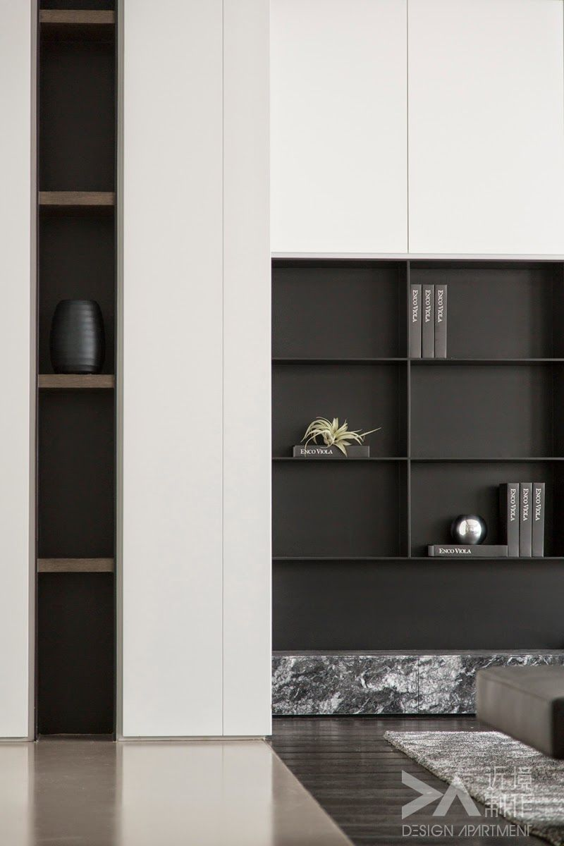 Living room shelving joinery detail shadow gap - Wall units for living room mumbai ...
