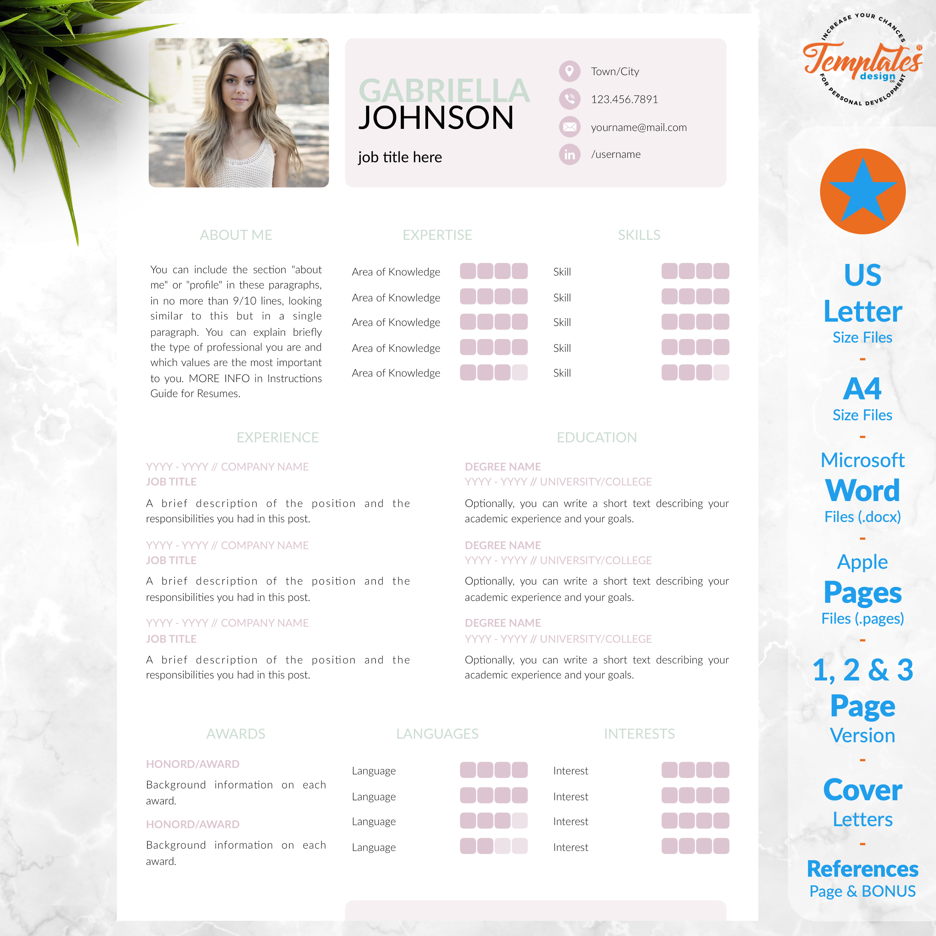Creative And Modern Cv Resume Template For Word Pages With Etsy Resume Template Cv Resume Template Reference Letter Template