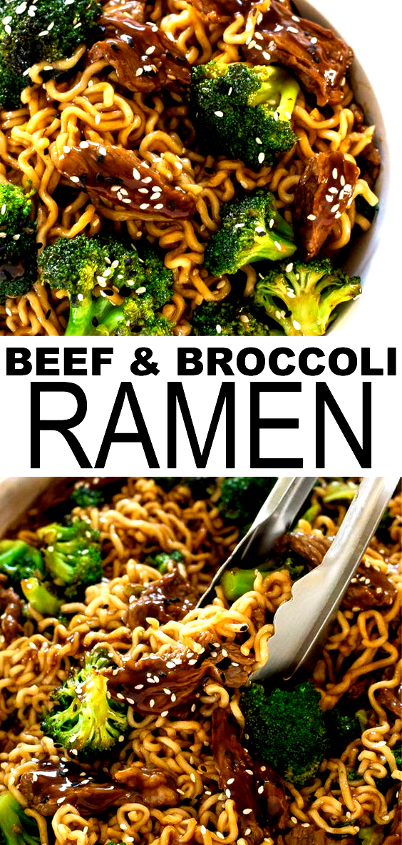 One Skillet Beef and Broccoli Ramen. Everything you love about beef and broccoli but with ramen noodles! Quick and easy to make - ready in less than 30 minutes. A great weeknight dinner if youre looking for healthy comfort food this fall and winter.  chefsavvy.com #ramen #dinner #beef #broccoli #healthy
