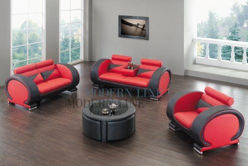 Modern Red and White Set: Sofa, Loveseat and Chair Set with a Matching Coffee Table! by Modern Line Furniture. $1745.95. Coffee table features convenient mini stools which are tucked away inside the coffee table.. Durable materials include solid hardwood frames, high density foam and bonded leather/leather match.. Offers distinctive two-tone leather design for an ultra modern look.. Features adjustable headrests, controlled individually for personalized comfort.. ...