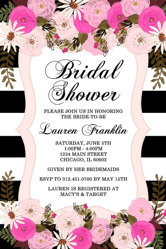 Peony Floral Bridal Shower Invitation Black and