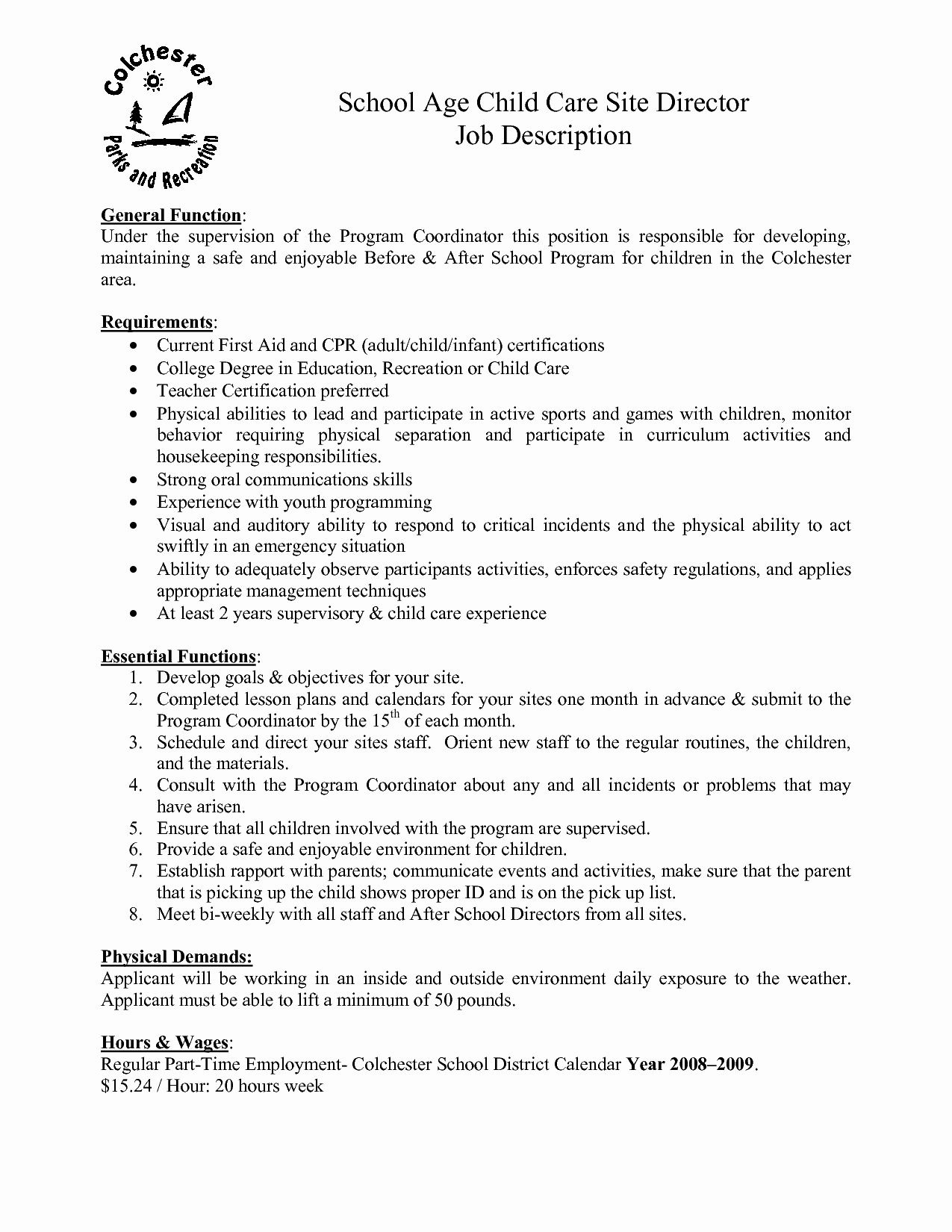 20 Child Care Director Resume in 2020 (With images) Job
