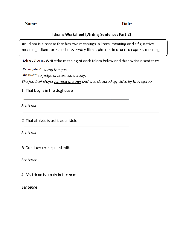 Writing Sentences Idioms Worksheet Part 2 Intermediate Recipes To