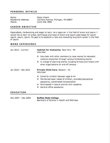 Teenage Resume Sample