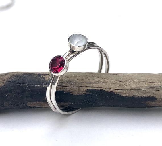 Photo of Birthstone Jewelry | Birthstone Ring | Swarovski Stacking Ring | Garnet Stacker | Mothers Ring | Ste