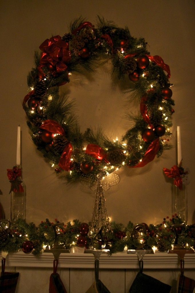 Brady\u0027s DIY wreath (and fireplace staging) Christmas Decor and - christmas town decorations