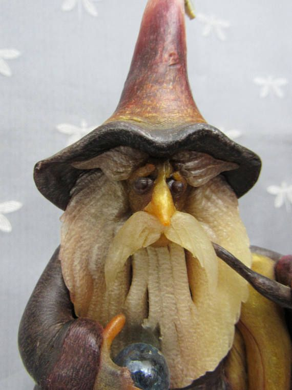 OOAK Vintage WIZARD CANDLE - Hand Sculpted Wizard - Wax