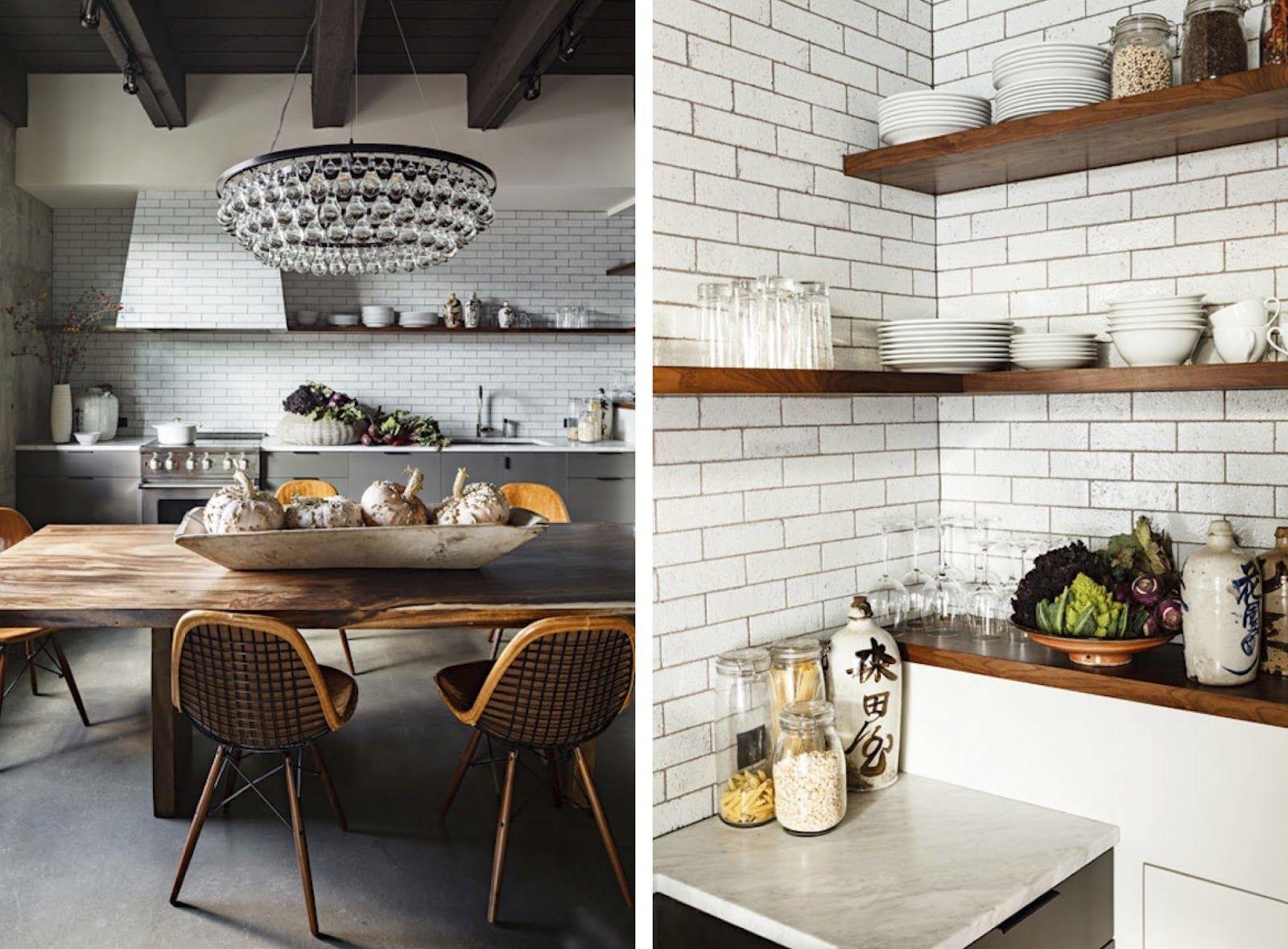 Slab kitchen cabinets  grey kitchen cabinets wood shelves subway tile wooded slab dining