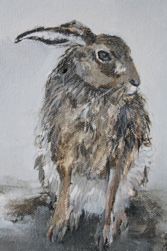 Painting 'Hare in the harr'10 x 12 by tintabernacle on Etsy, $99.00