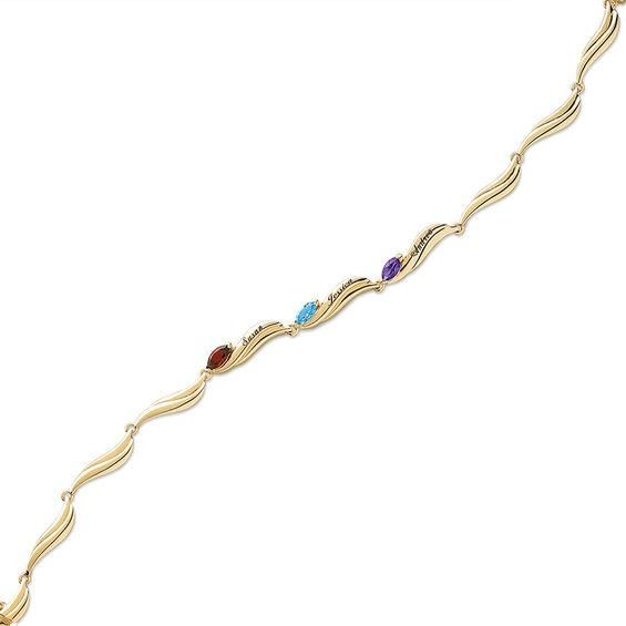 Zales Mothers Marquise Simulated Birthstone Bracelet in Sterling Silver with 18K Gold Plate (8 Stones and Names) - 7.5 51nCJd8