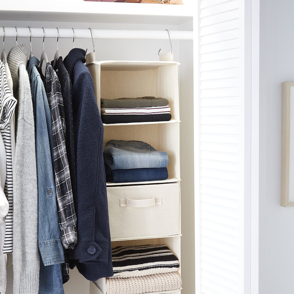 Small Closet Consider A Hanging Sweater Bag To Utilize Wasted