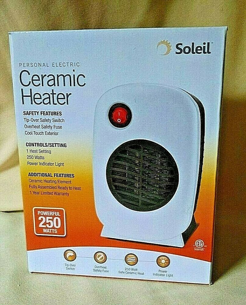 Heater Soleil Personal Electric Ceramic White New 250 Watts Mh 01 Cool Touch Soleil Heater Ceramic Heater Indicator Lights