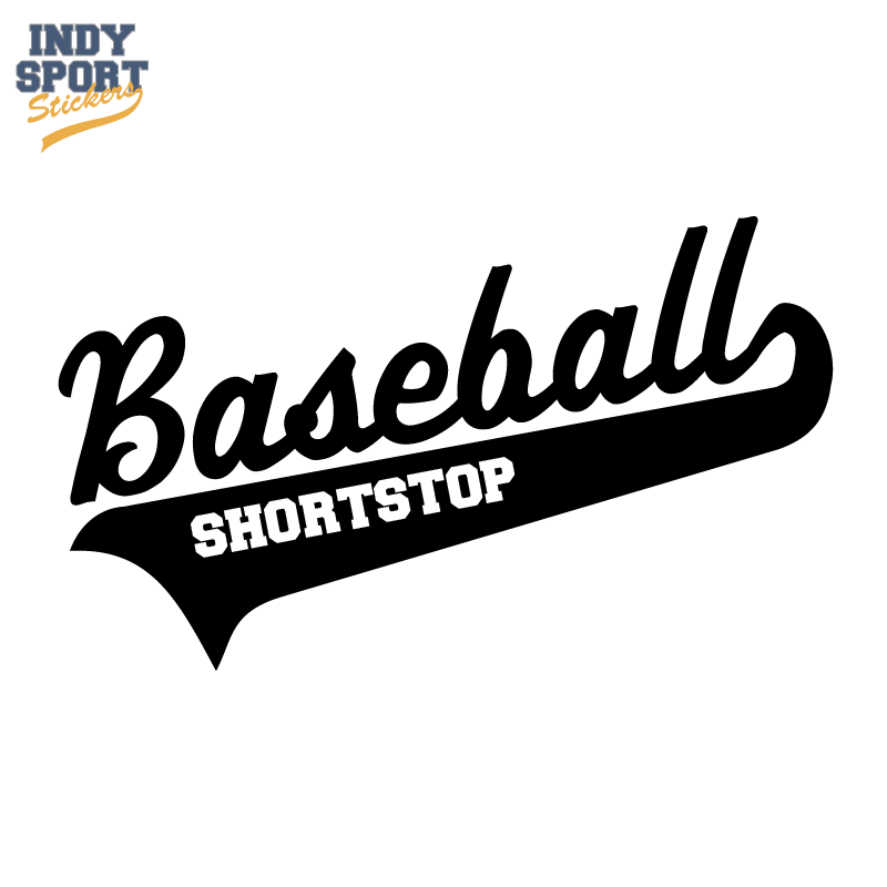 Baseball Script Text And Tail With Short Stop Text Car Stickers And Decals Baseball Decals Baseball Sticker Baseball Vinyl Decal