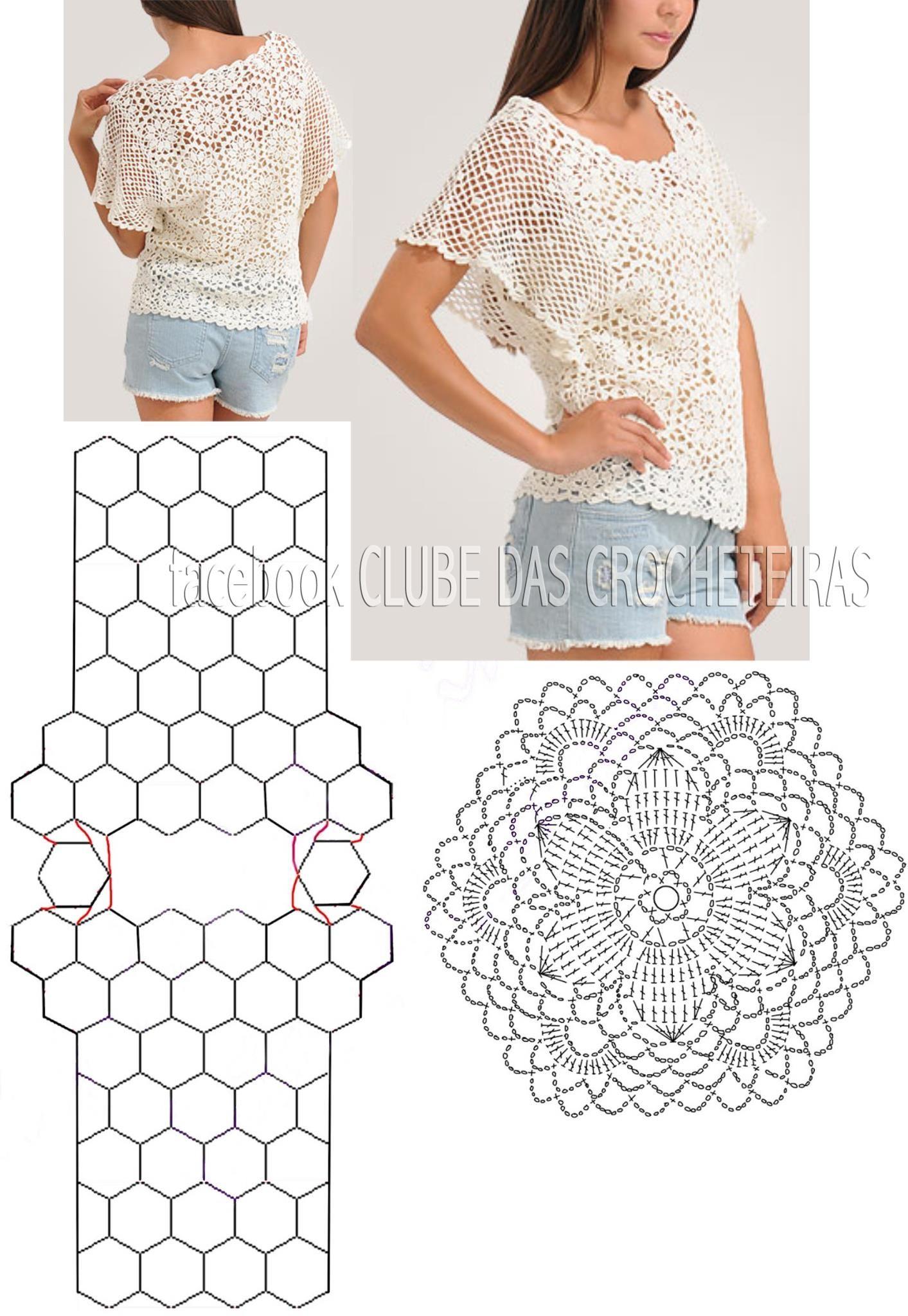 Blusa de crochê com motivos hexagonais   Blusas   Pinterest   Blusas ...