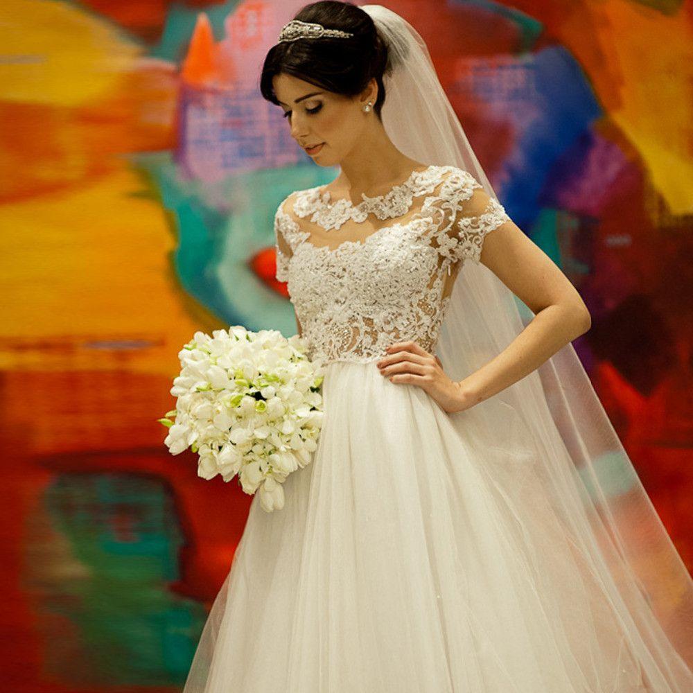 A222 vestido de novias boda short sleeve lace wedding