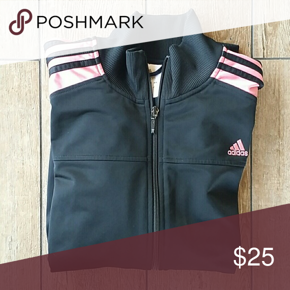 dd2772eb72b7 🆕LIST ADIDAS FULL ZIP JACKET Black Pink stripes down arms Funnel neck  Banded waist and cuffs 22