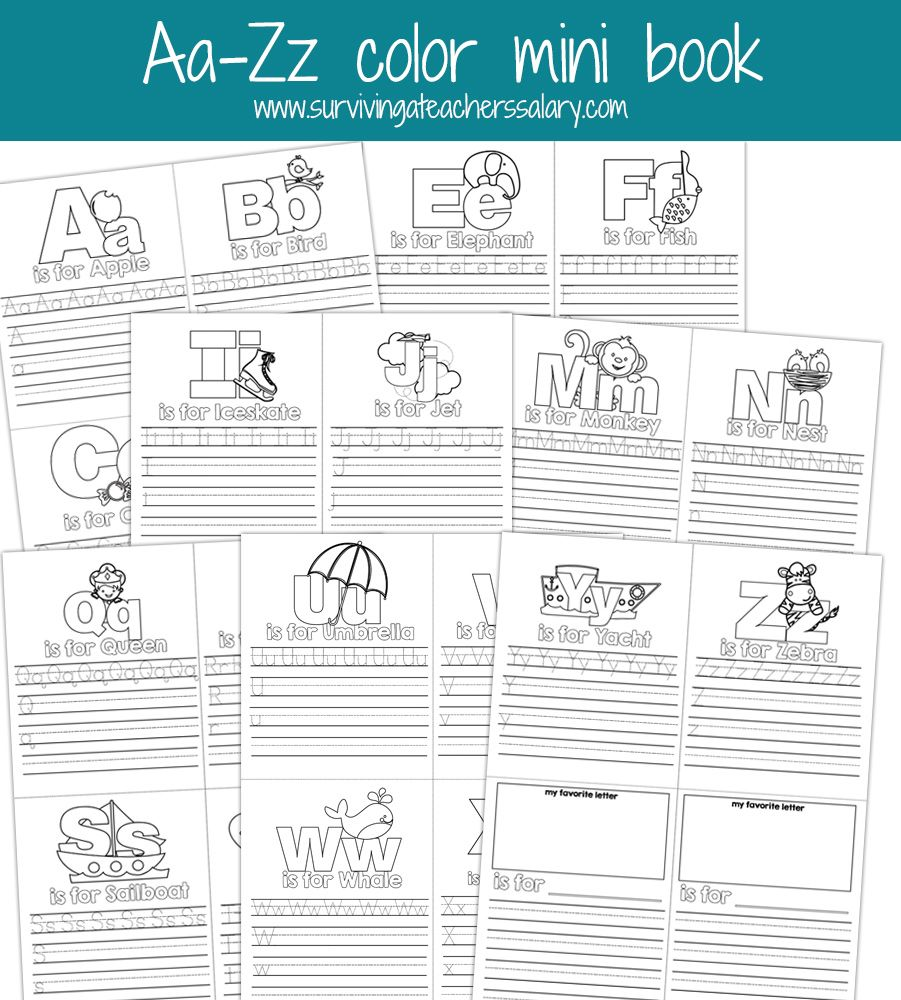 Aa Zz Alphabet Letter Mini Color Book Practice Printable School